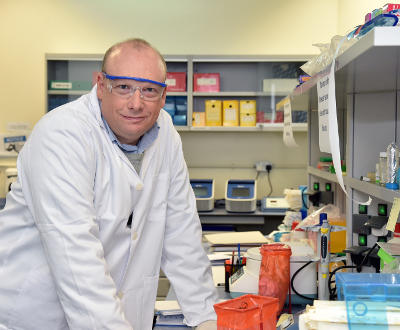 Jonathan Jed Brown, scientist at Qatar University's Center for Sustainable Development, in the lab.