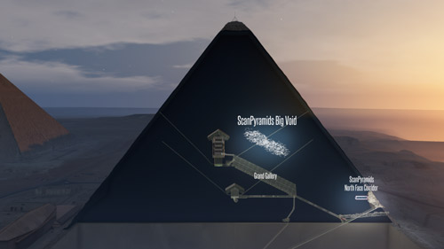 A 3D artistic view of the pyramid's big void.