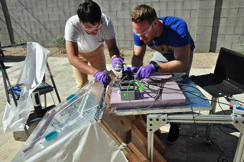 In desert trials, UC Berkeley scientists demonstrated that their next-generation water harvester can collect water from desert air each day/night cycle.