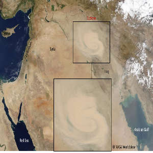 Satellite image of the dry cyclone event