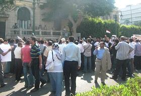 Over 5,000 university professors joined the march, which brought downtown Cairo to a standstill