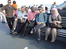 A group of young Arab researchers on the boat trip to Mainau